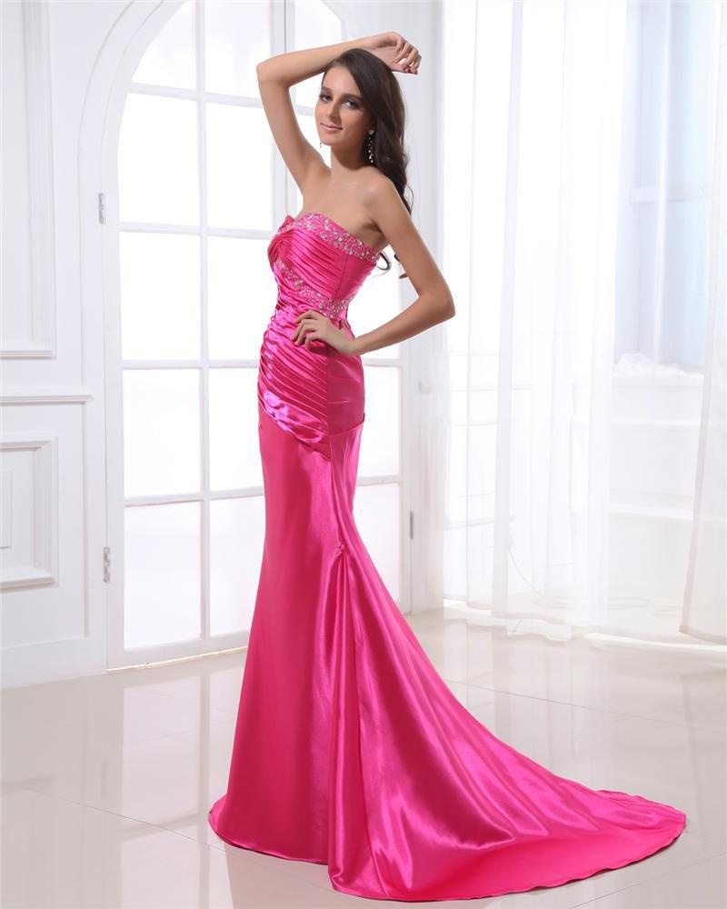 Strapless Neckline Floor Length Sleeveless Beading Pleated Charmeuse Woman Evening Dress
