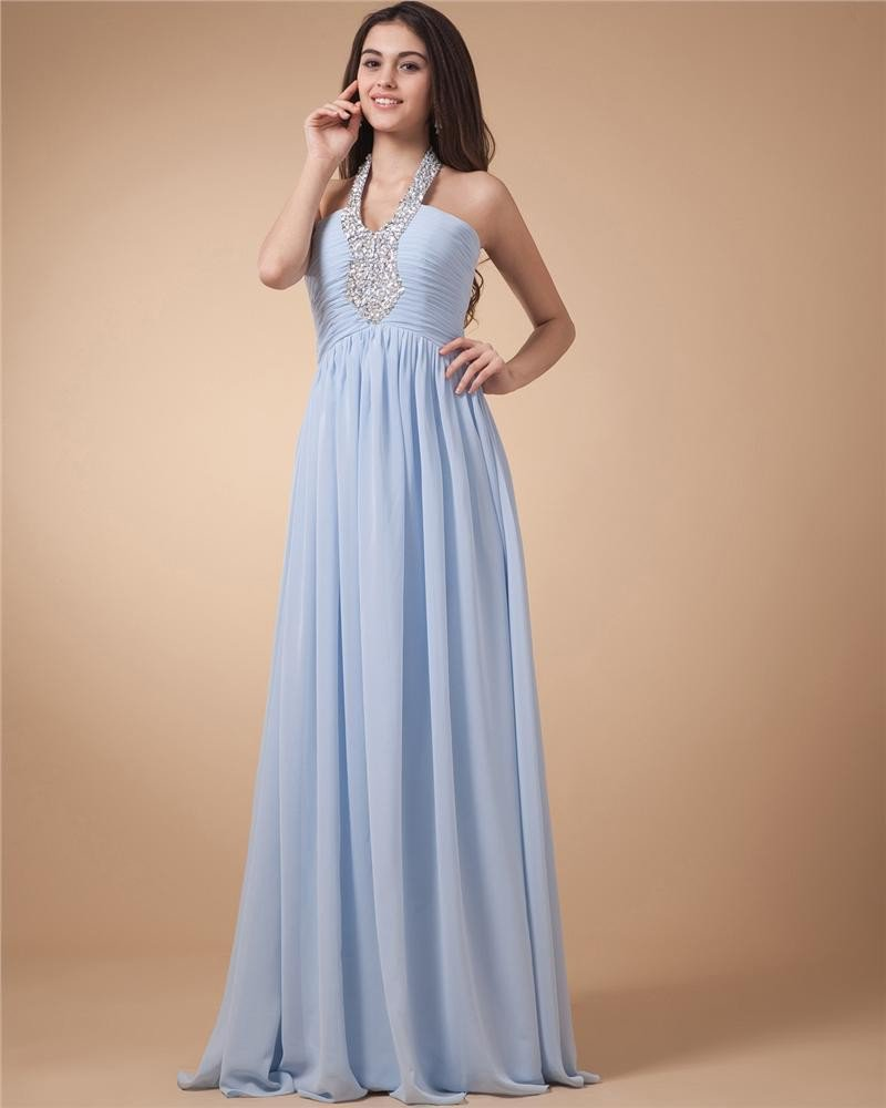 Junoesque A-Line Halter Floor Length Chiffon Women's Evening Dress