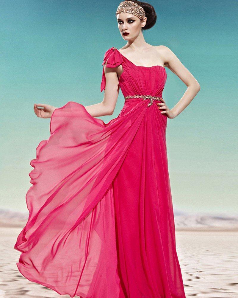 One Shoulder Rhinestone Bowknot Sleeveless Backless Floor Length Charmeuse Woman Evening Dress
