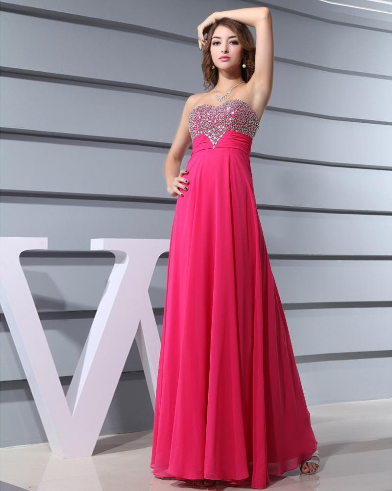 Chiffon Silk Like Satin Silk Beading Sweetheart Sleeveless Backless Zipper Floor Length Pleated Even