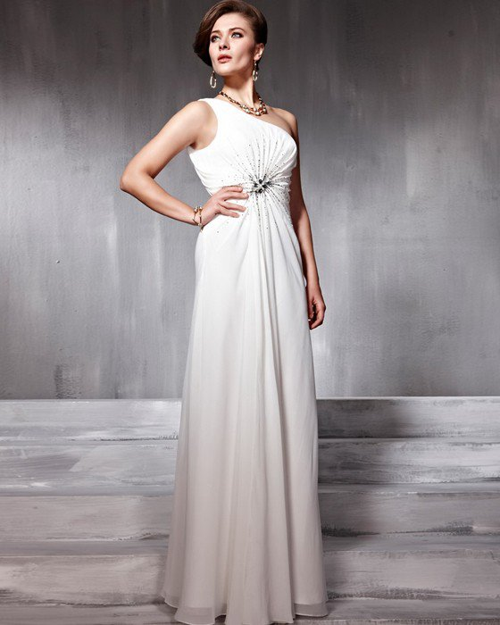 Chiffon Charmeuse Beading One Shoulder Floor Length Evening Dresses