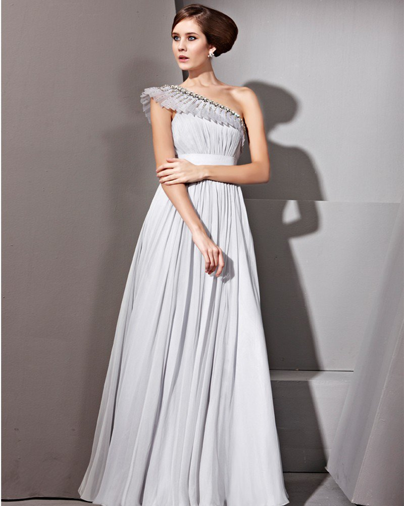 Floor Length Sloping Tencel Sleeveless Zipper Evening Dresses