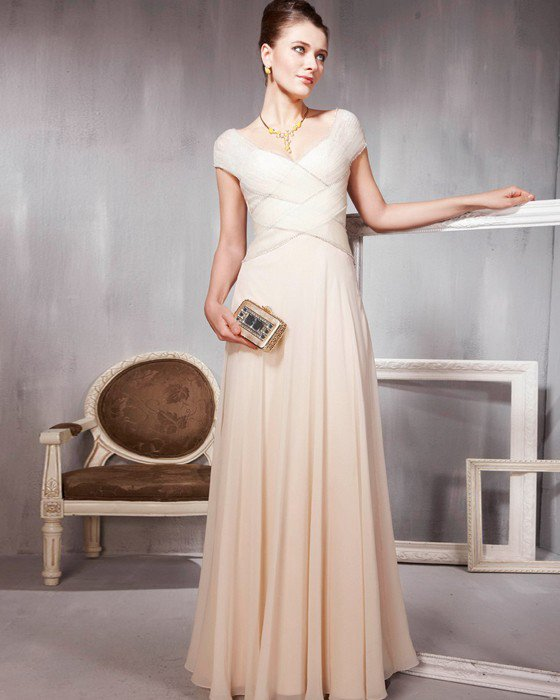 Beaded Ruffle Cotton Tulle V Neck Floor Length Evening Dresses