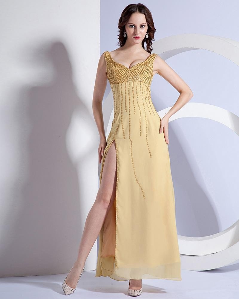 Beautiful Spaghetti Straps Sweetheart Side Vent Floor Length Evening Dress