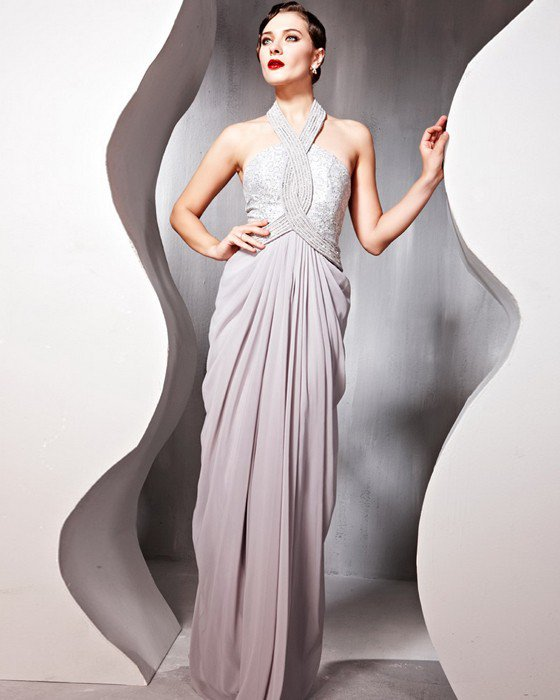 Beaded Ruffle Cotton Charmeuse Tulle Halter Floor Length Evening Dresses