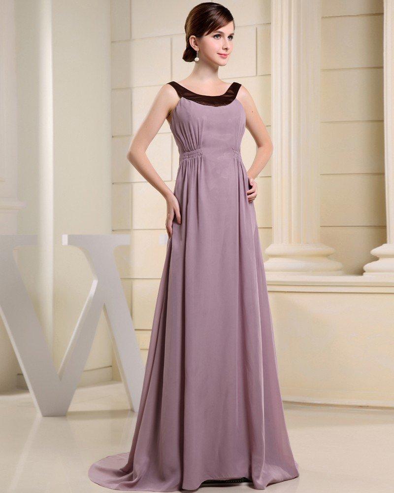Fashion Chiffon Charmeuse Silk Crew Neck Court Train Sleeveless Women Evening Dress