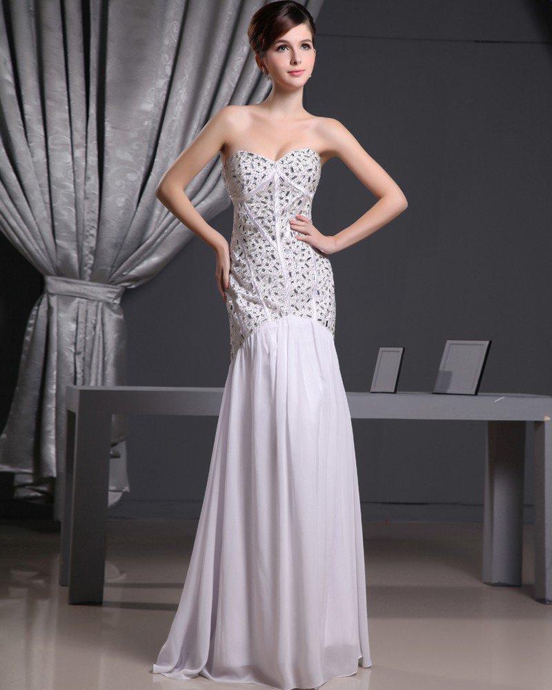 Fashion Chiffon Charmeuse Silk Beaded Jointing Sweetheart Court Train Sleeveless Women Evening Dress