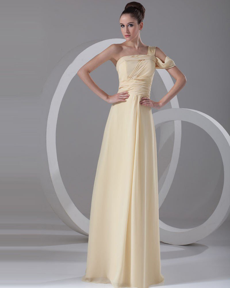 One Shoulder Pleated Floor Length Chiffon Evening Dress