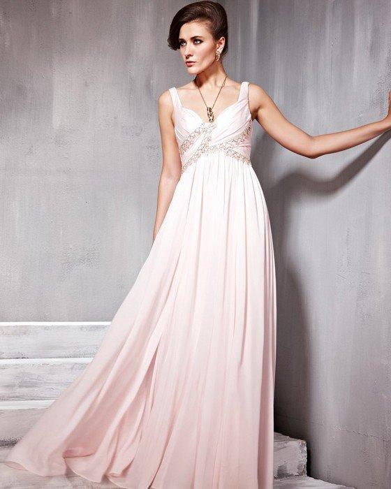 Beaded Ruffle Imitated Silk Chiffon Charmeuse V Neck Floor Length Evening Dresses