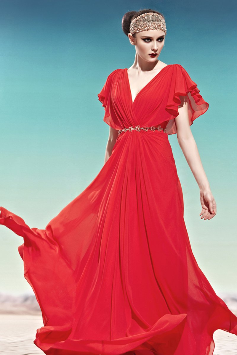 V Neck Rhinestone Ruffle Short Puff Sleeve Backless Floor Length Tencel Woman Evening Dresses