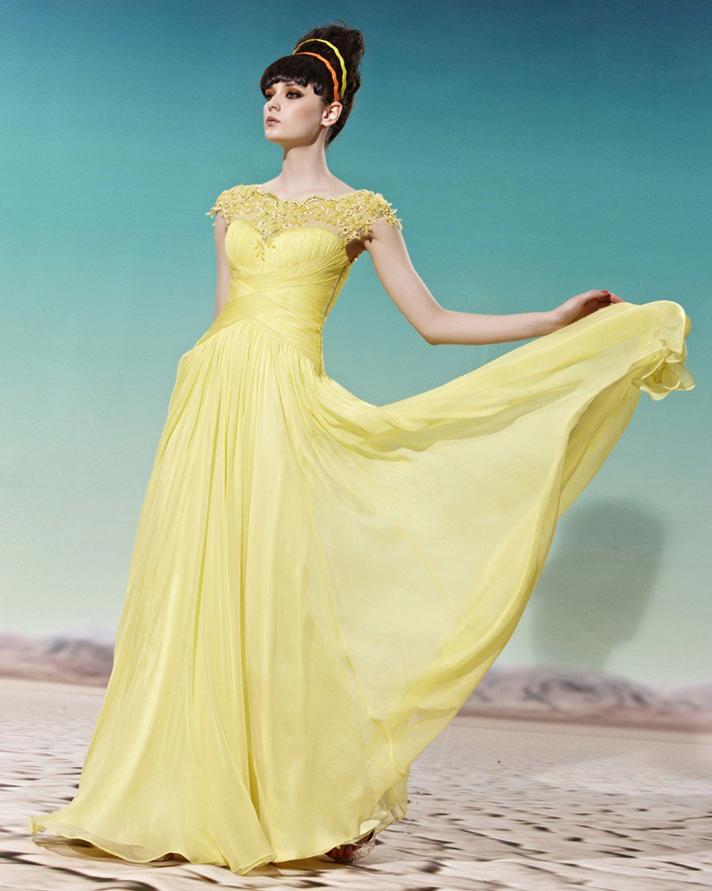 Floor Length Round Neckline Lace Beading Tencel Empire Woman Evening Dress