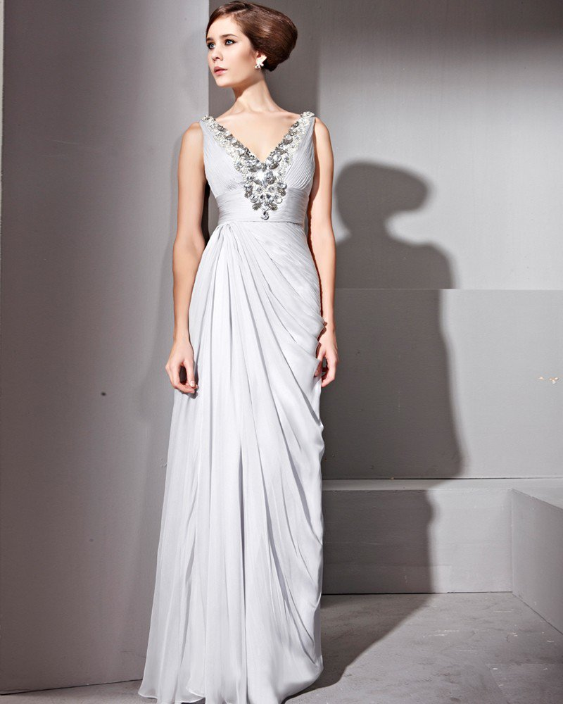 Floor Length V-Neck Sleeveless Tencel Evening Dresses