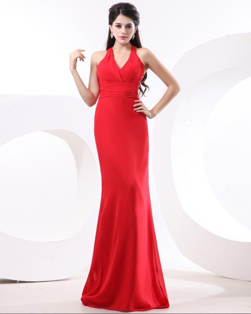 Ruffle Halter Floor-Length Chiffon Womens Evening Dress
