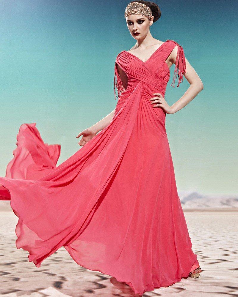 Tencel Floor Length Tassles Beading V Neck Sleeveless Empire Woman Evening Dress