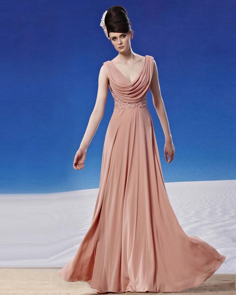 V Neckline Floor Length Beading Chiffon Pleated Women Evening Dress