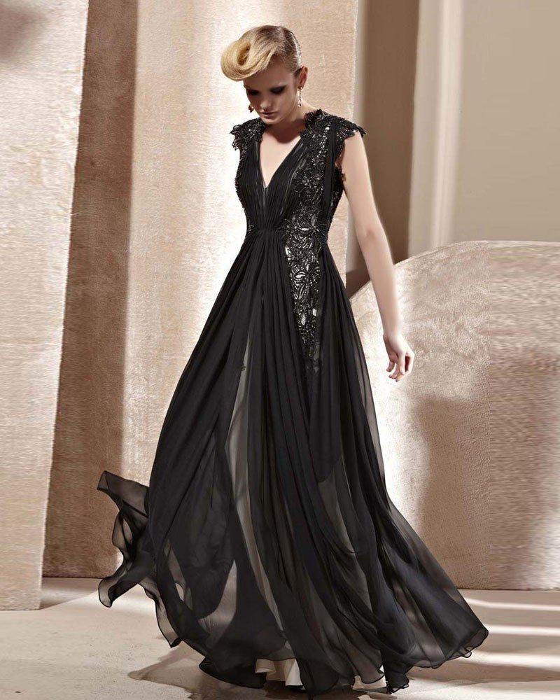 V Neck Beading Flower Sleeveless Zipper Floor Length Charmeuse Woman Evening Dress