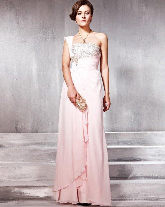 Lace Chiffon Charmeuse Beading One Shoulder Floor Length Evening Dresses