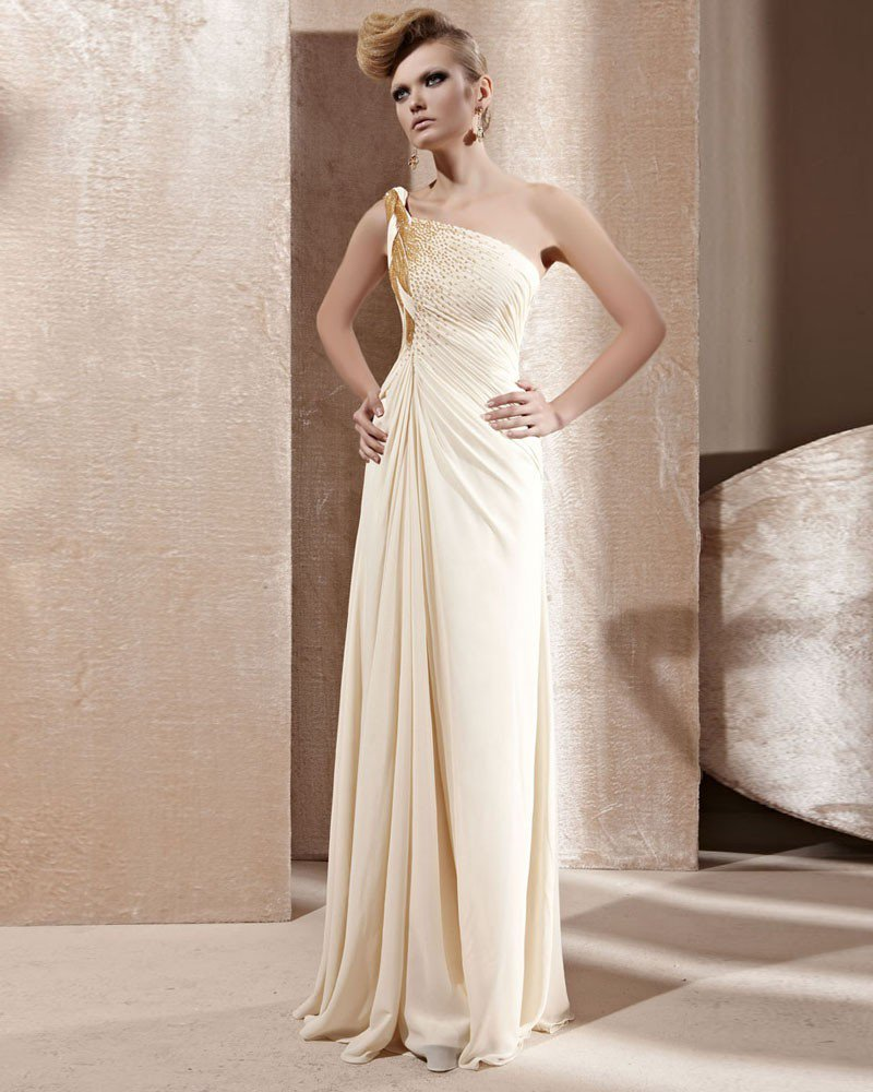 Strapless Twist One Shoulder Beading Ruffle Sleeveless Backless Floor Length Chiffon Woman Evening D