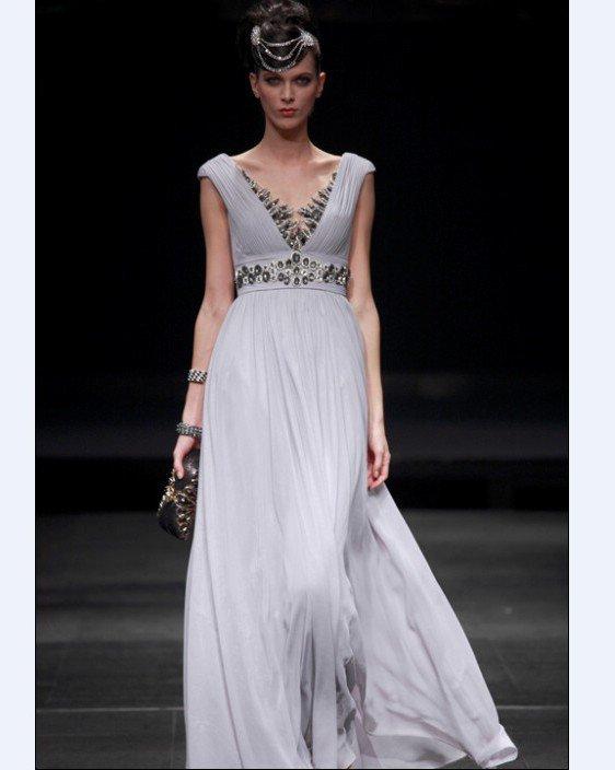 Empire V Neck Sleeveless Floor Length Bead Satin Composite Filament Evening Dresses