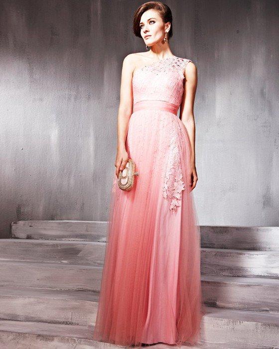 Charmeuse Tulle Beading One Shoulder Floor Length Evening Dresses