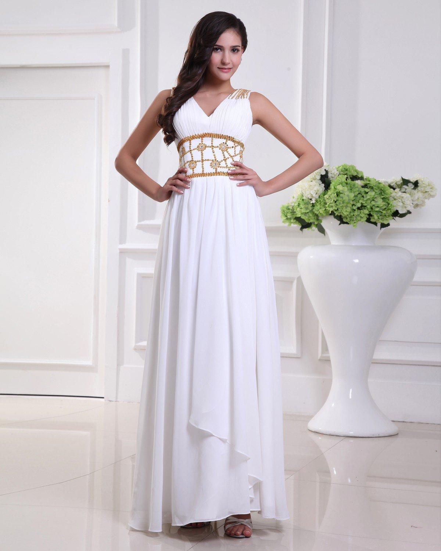 Elegant Floor Length V Neck Pleated Chiffon Beading Flowers Women Evening Dress