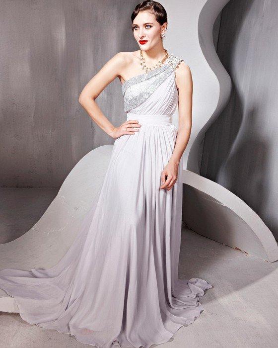 Beading One Shoulder Backless Floor Length Evening Dresses