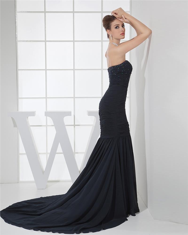 Fashion Chiffon Charmeuse Silk Strapless Court Train Sleeveless Women Evening Dress