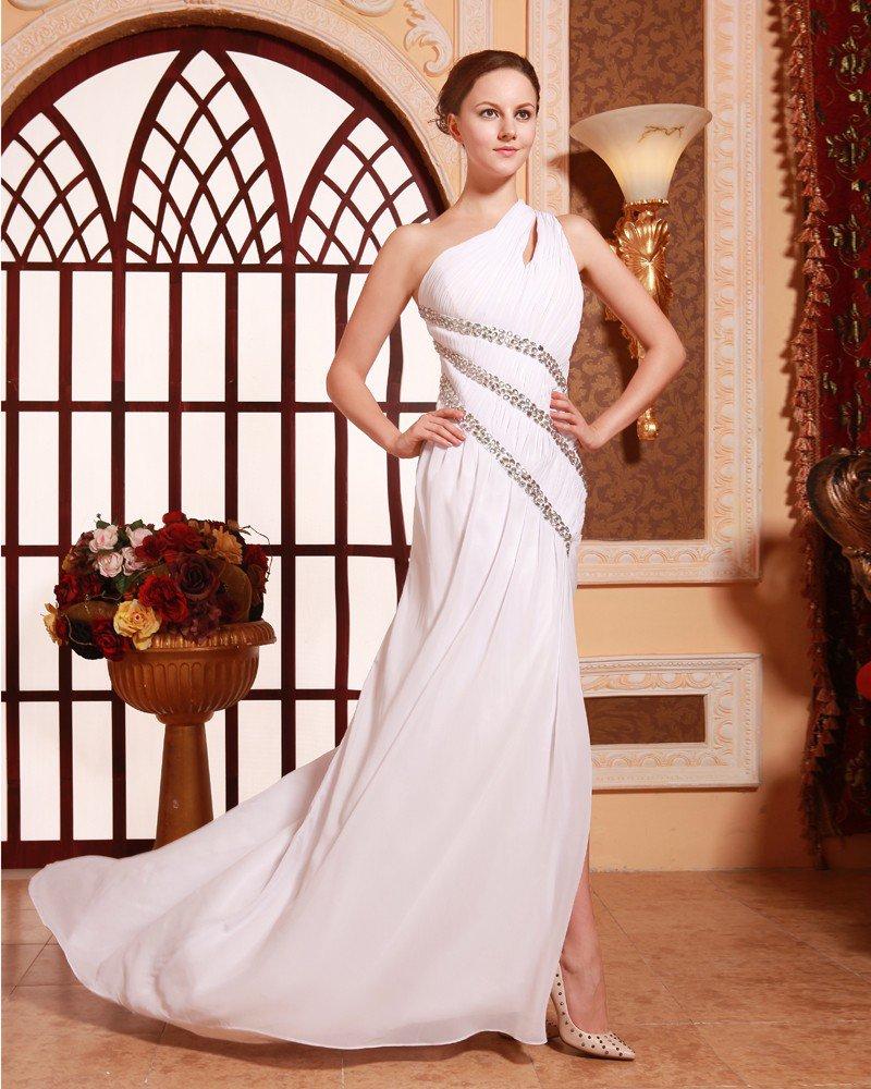 Sloping Chiffon Beading Ruffle Floor Length Evening Dresses
