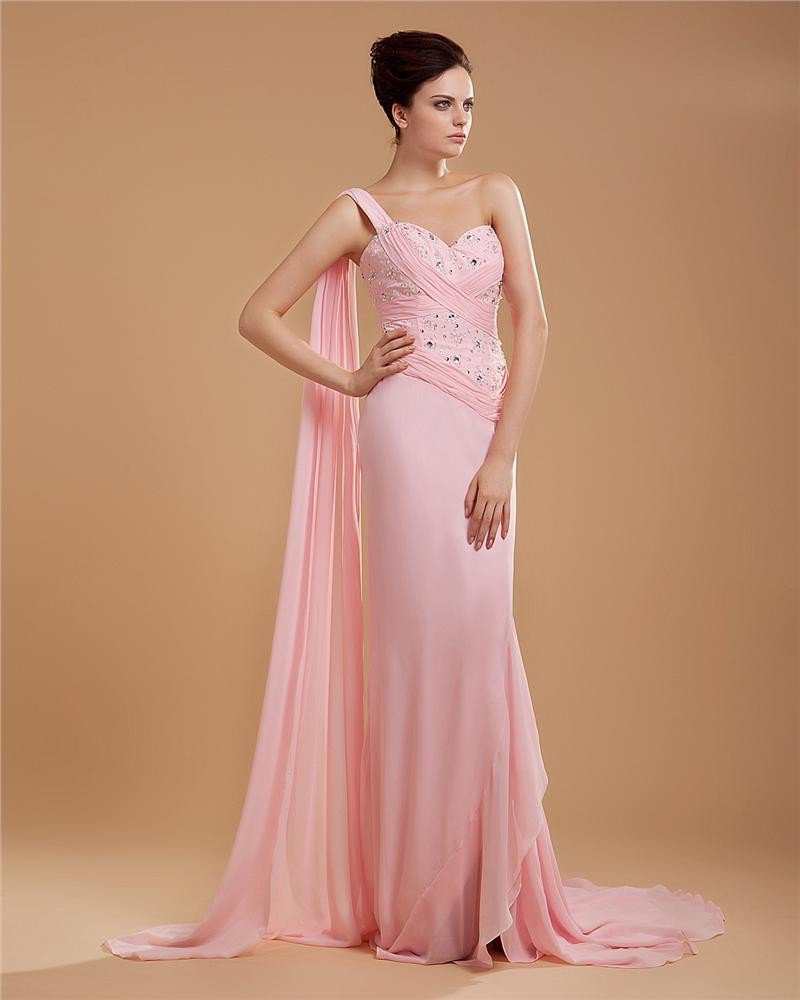 Empire One Shoulder Chapel Train Chiffon Women's Evening Dress