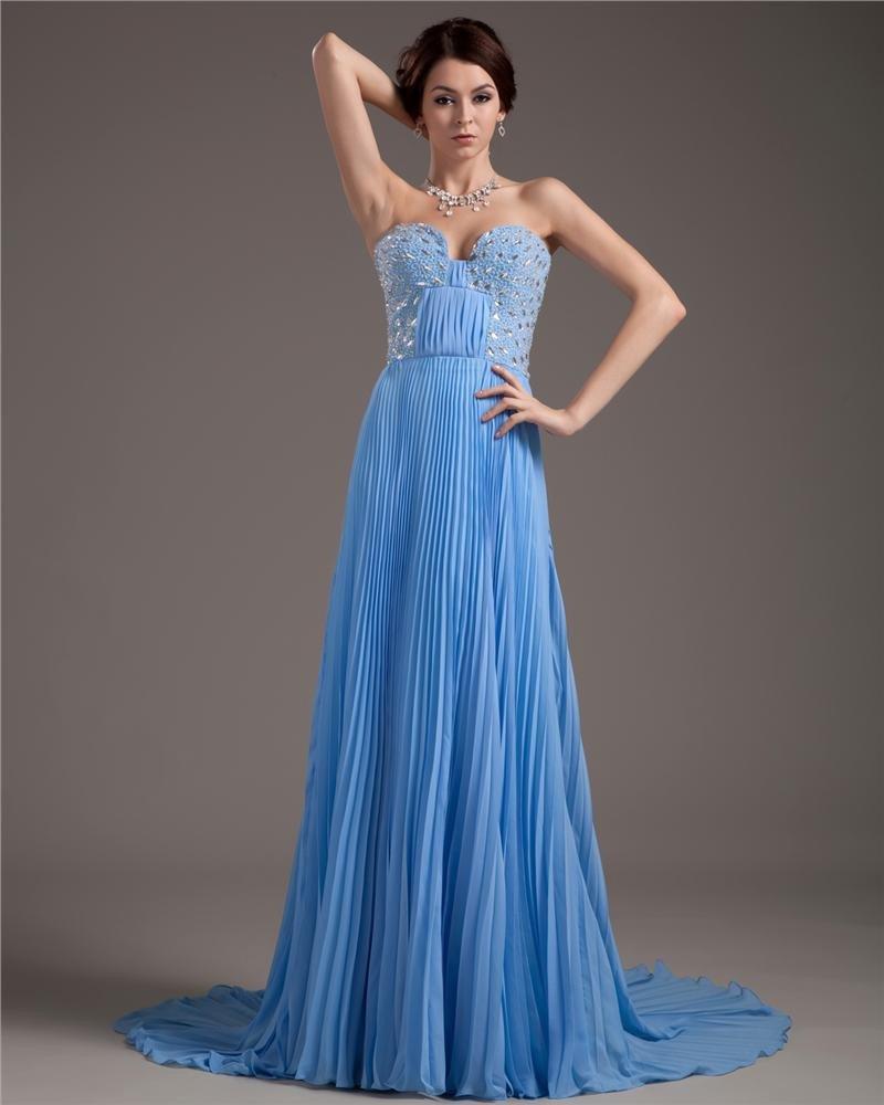 Special Occasion Chiffon Sweetheart Chapel Train Women's Celebrity Dress