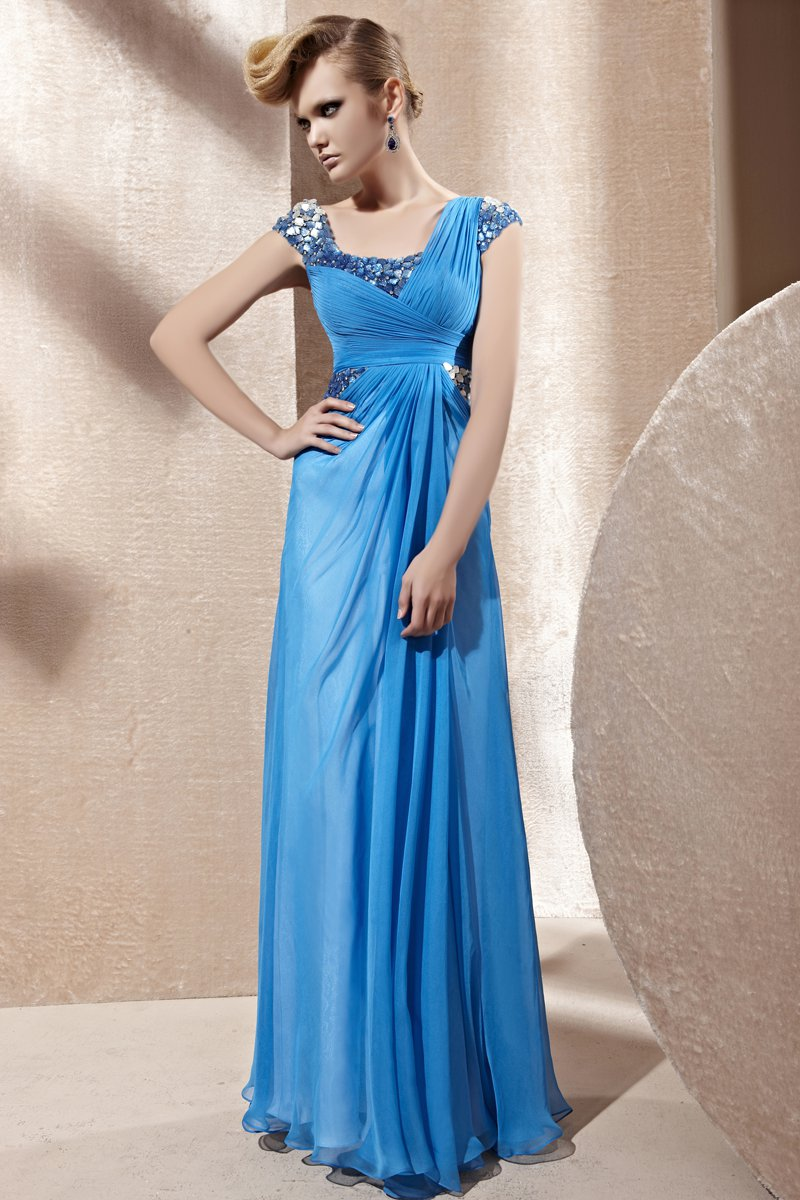 Square Collar Beading Sleeveless Backless Floor Length Tencel Woman Evening Dress