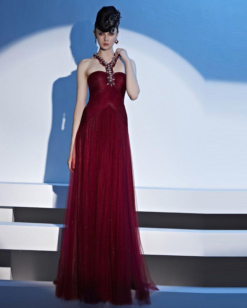 Halter Beading Floor Length Tulle Woman Evening Dress