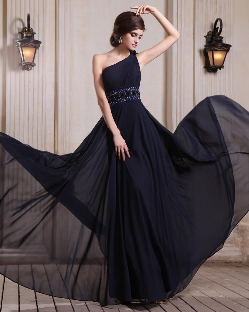 Sleeveless Chiffon Beading Ruffles Flowers One Shoulder Floor Length Evening Dresses