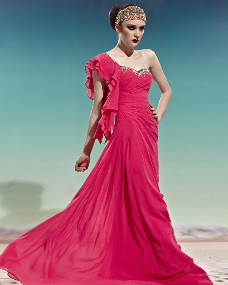 Sweetheart Neck One Side Short Layered Sleeve Backless Tencel Woman Evening Dresses