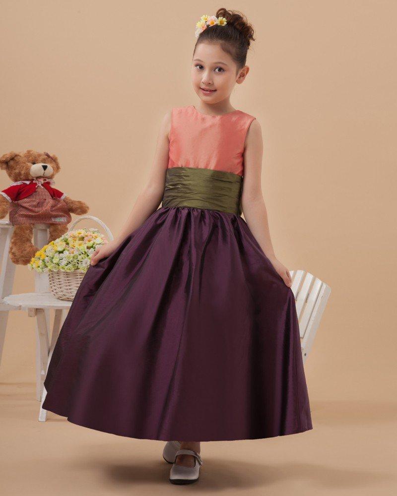 Beautiful Taffeta Belt Long Flower Girl Dresses 2214120010