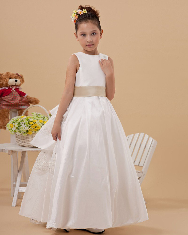 Satin Lace-up Sash Flower Girl Dresses 2214120058