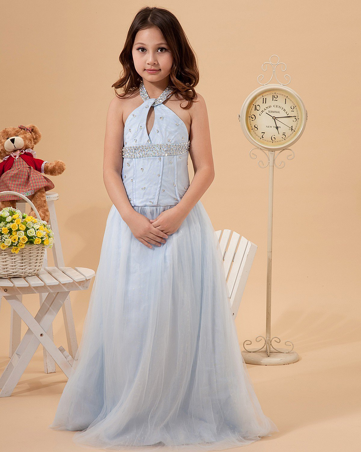 Tulle Halter Beading Floor Length Junior Bridesmaid Dresses 2214120001