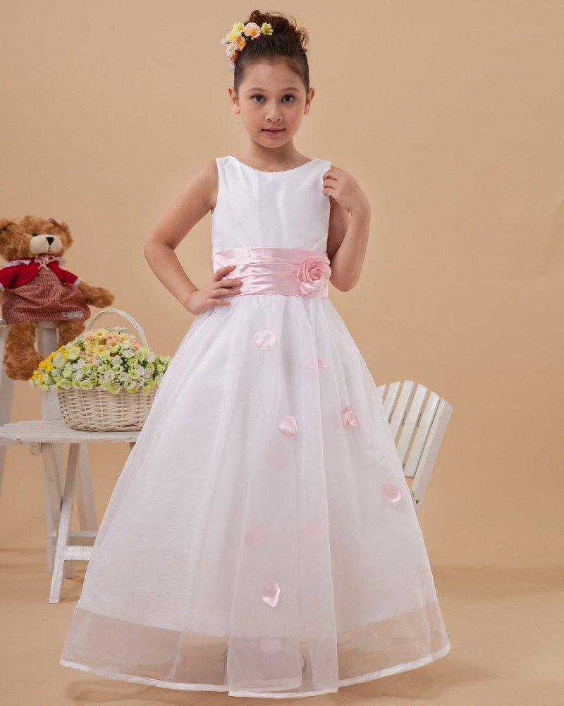 Beautiful Handmade Flowers Sleeveless Ankle-Length Taffeta Organza Flower Girl Dress 2214120007