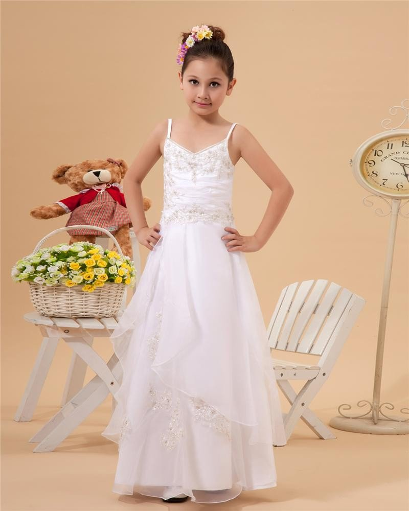 Organza Taffeta Beading Embroidery Spaghetti Straps Flower Girl Dresses 2214120043