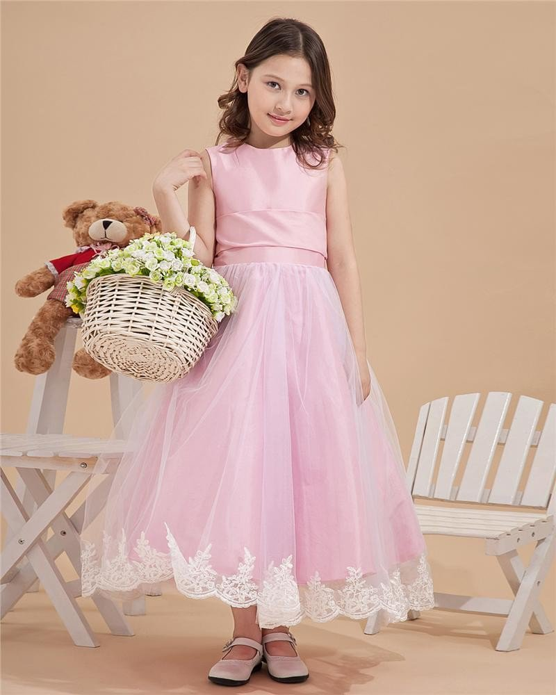 Satin Mesh Embroidery Bowtie Round Neck Flower Girl Dresses 2214120048
