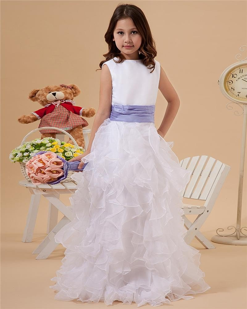 Round Neck Layered Yarn Floor Length Flower Girl Dresses 2214120046