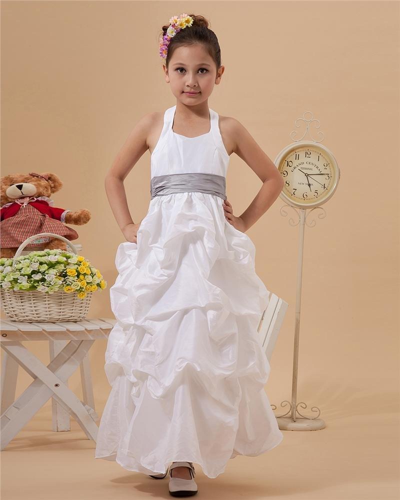 Cute A-Line Halter Ankle-Length Taffeta Flower Girl Dress 2214120014