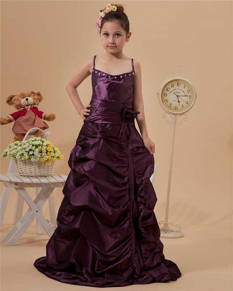 Taffeta Beaded Ruffle Halter Floor Length Flower Girl Dresses 2214120070