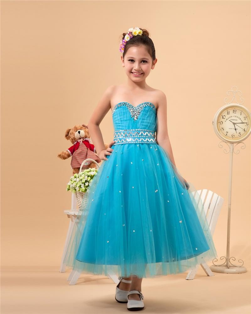 Satin Organza Sewing Beads Flower Girl Dresses 2214120062