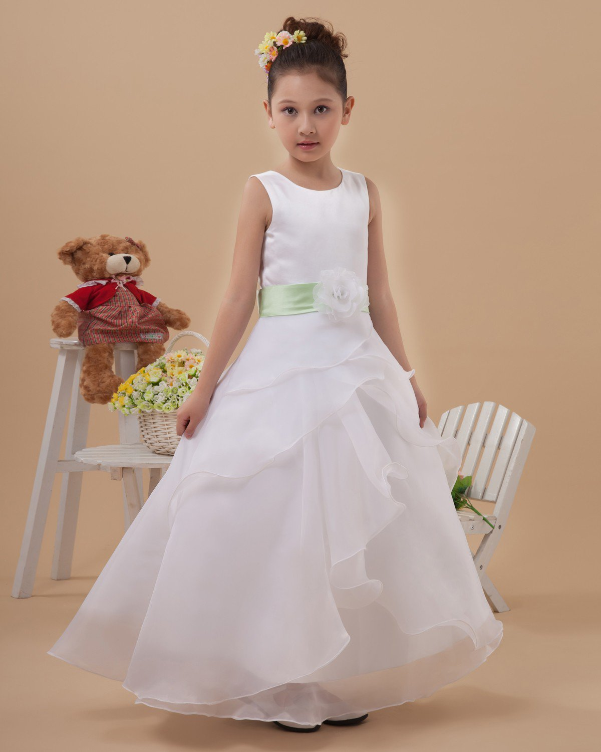Cute Organza Long Flower Girl Dresses 2214120021