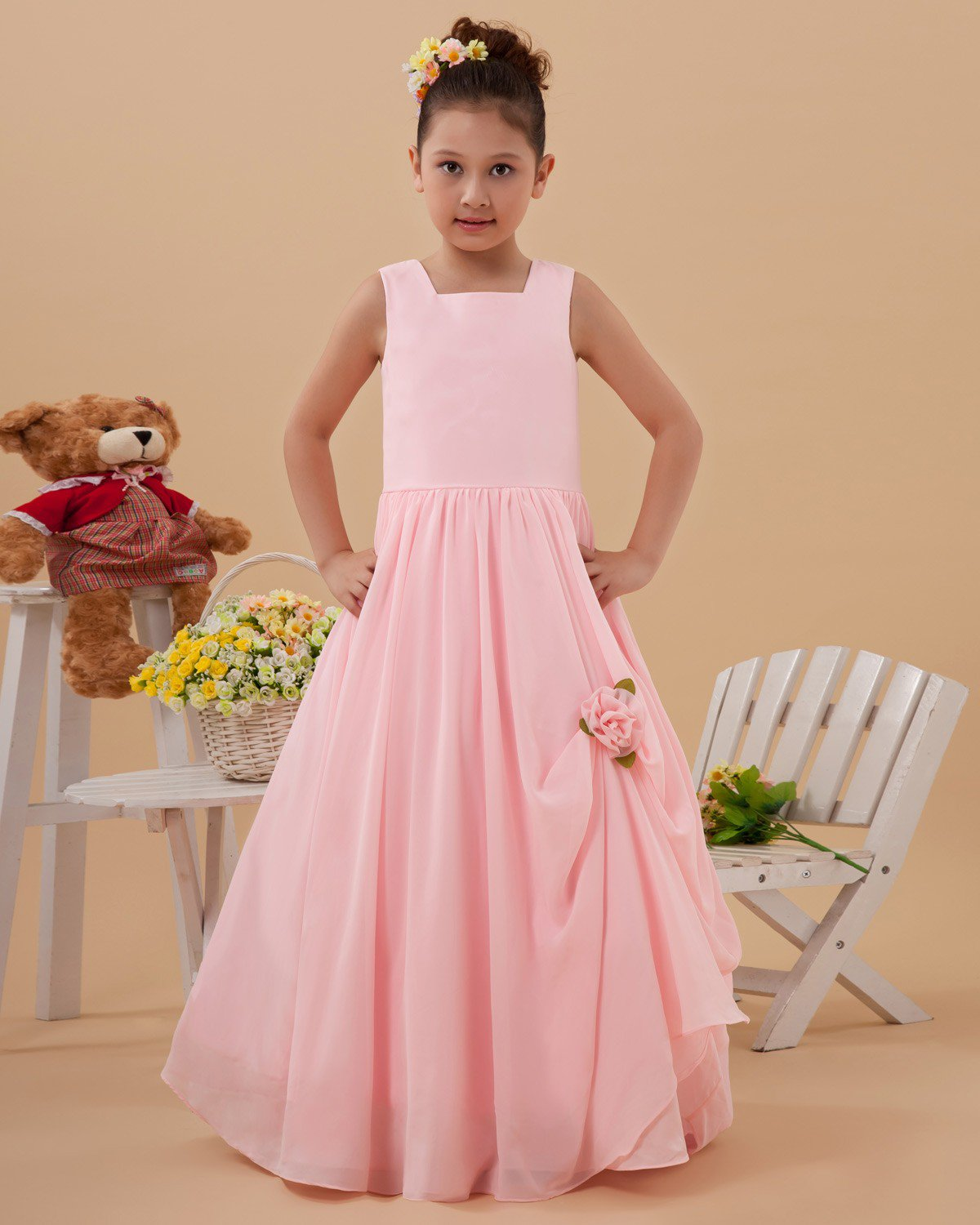 Taffeta Flower Ruffle Square Neck Floor Length Flower Girl Dresses 2214120071