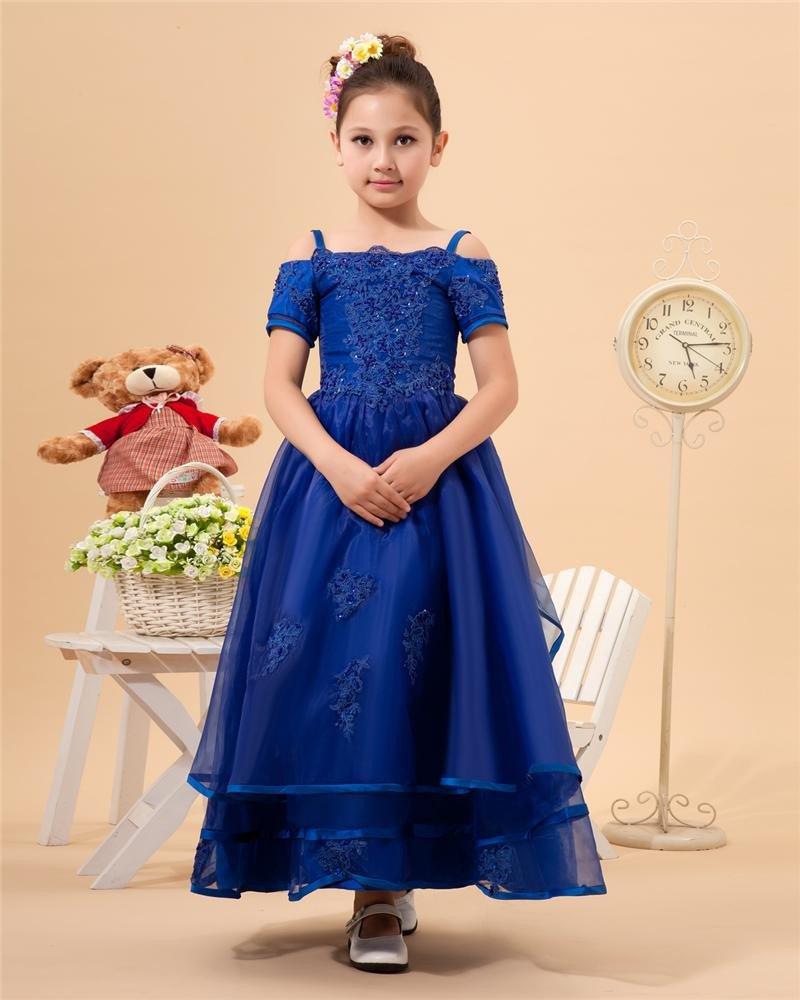 Solid Spaghetti Strap Organza Flower Girl Dresses 2214120069