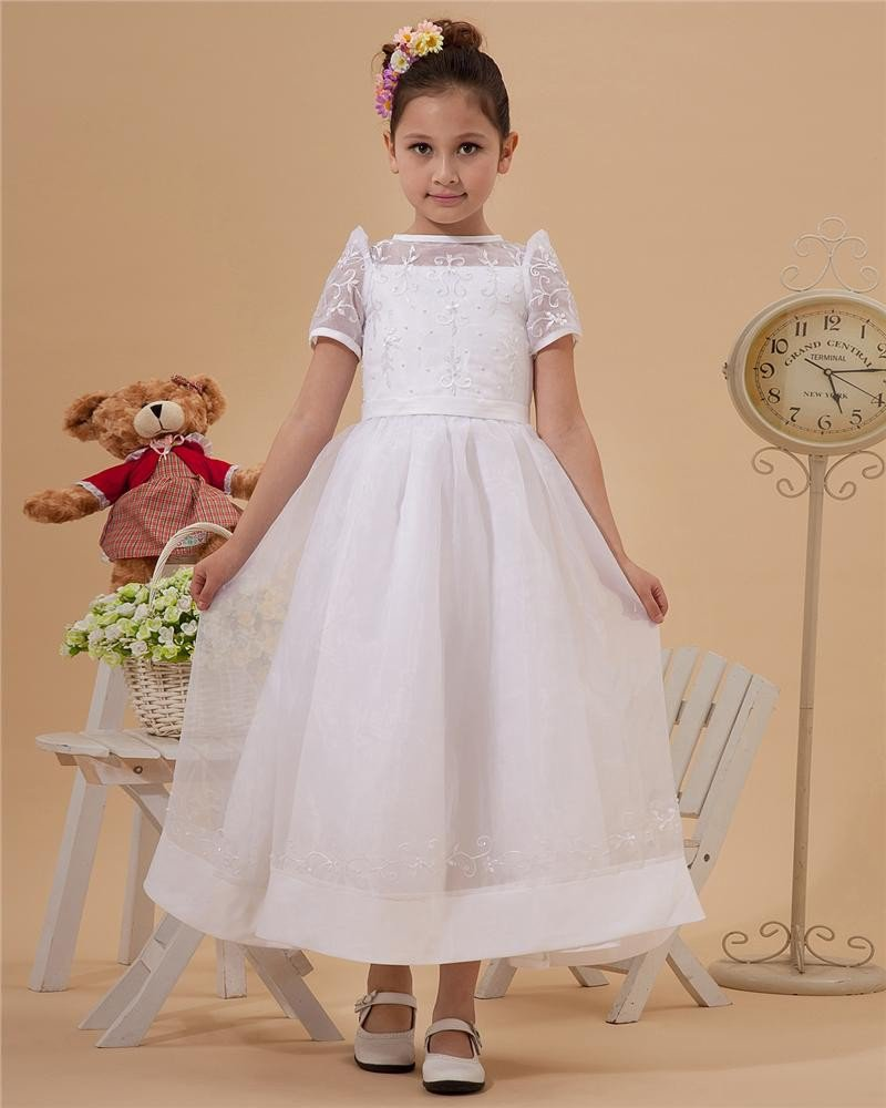 Cute Spaghetti Straps Ankle-Length Taffeta Yarn A-Line Flower Girls' Dress 2214120024