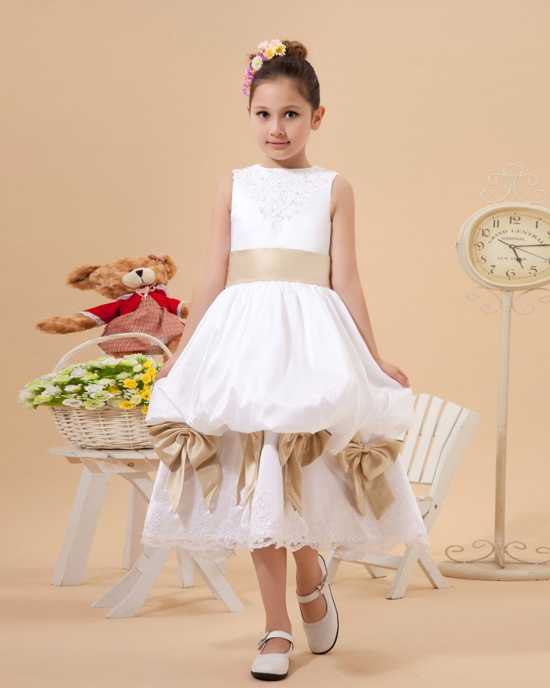 Satin Lace Bowknot Flower Girl Dresses 2214120057