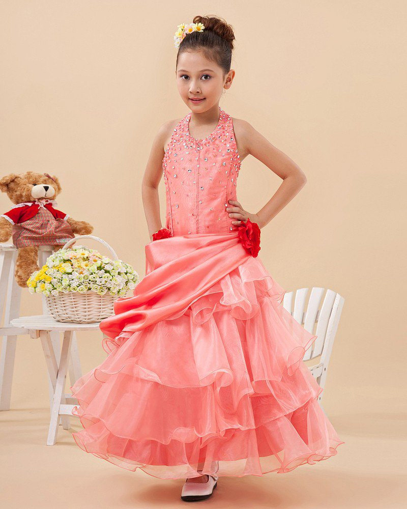 Angel Taffeta Yarn Halter Ruffle Floor Length Junior Bridesmaid Dresses 2214120003